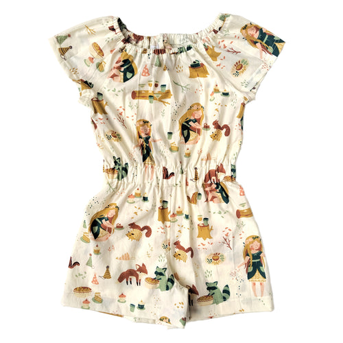 Short Sleeve Romper, Forest Party, Organic