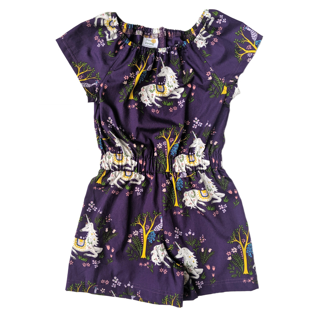 Short Sleeve Romper, Purple Unicorns, Organic