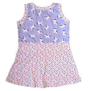 Sleeveless T-Shirt Dress, Unicorn top, floral bottom