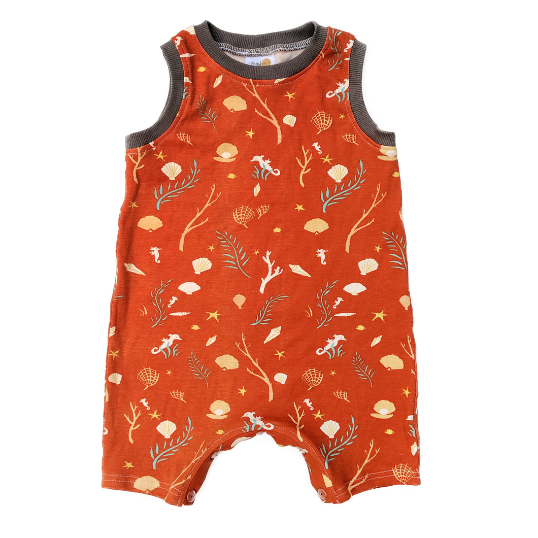 Sleeveless Baby Romper, Sea Life, organic cotton