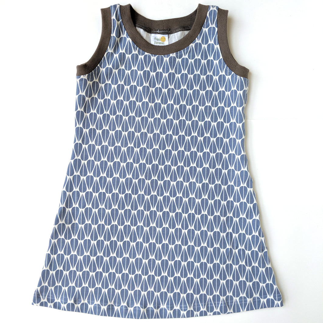 Sleeveless T-Shirt Dress, Blue Leaves, organic cotton