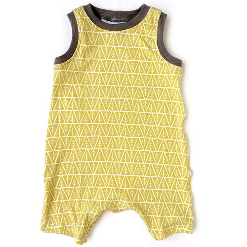 Sleeveless Baby Romper, Yellow Trees, organic cotton
