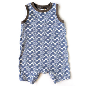 Sleeveless Baby Romper, Blue Leaves, organic cotton