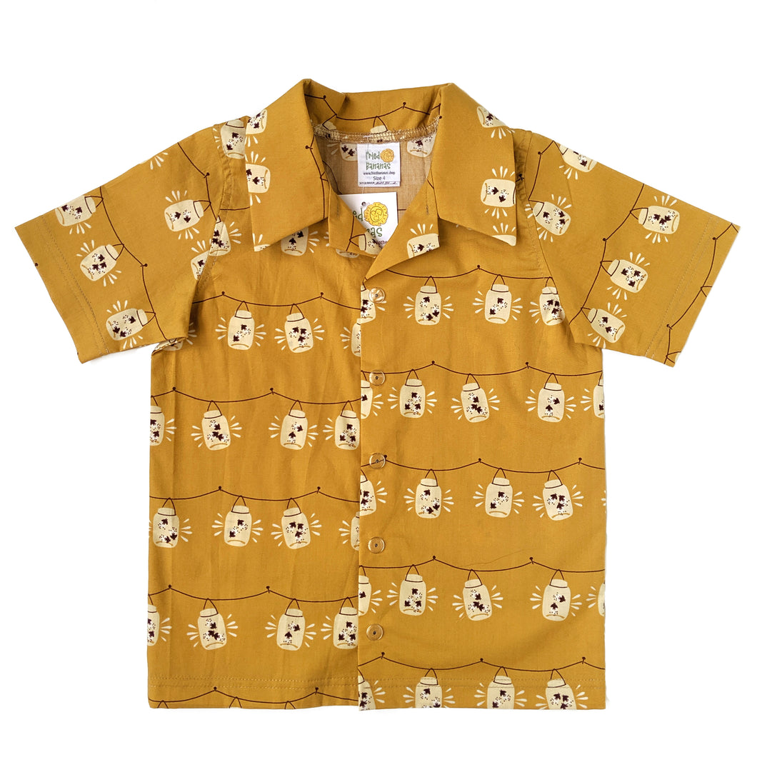 Snap-up dress shirt, Fireflies, organic cotton