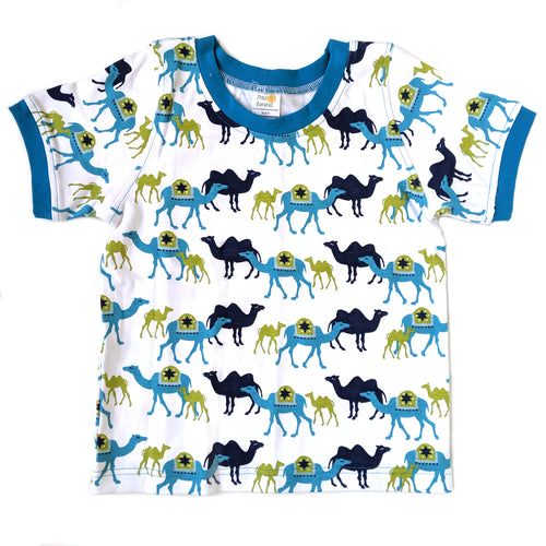 Ringer T-Shirt, Blue Camels, organic cotton