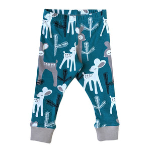 Organic Cotton Pajamas, Teal Deer