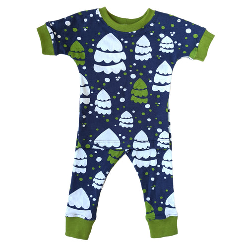 Organic Cotton Pajamas, Blue Snow Trees