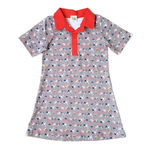 Short Sleeve Polo Dress, Mushrooms on gray, organic cotton