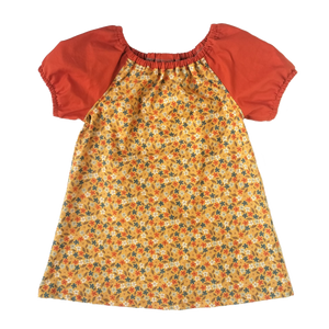 Peasant Dress, vintage flowers on yellow
