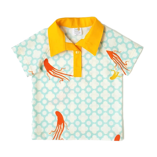 Boys Polo Shirt, Octopus on blue background