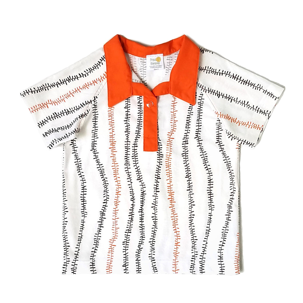Boys Polo Shirt, Orange Kelp