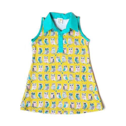Sleeveless Polo Dress, Owls on yellow, organic cotton