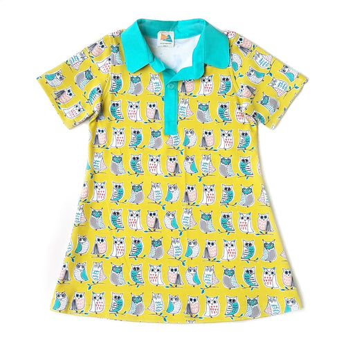 Short Sleeve Polo Dress, Owls on yellow, organic cotton