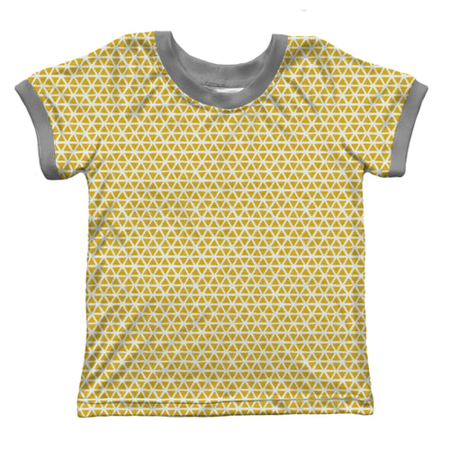 Ringer T-shirt, Yellow Triangles