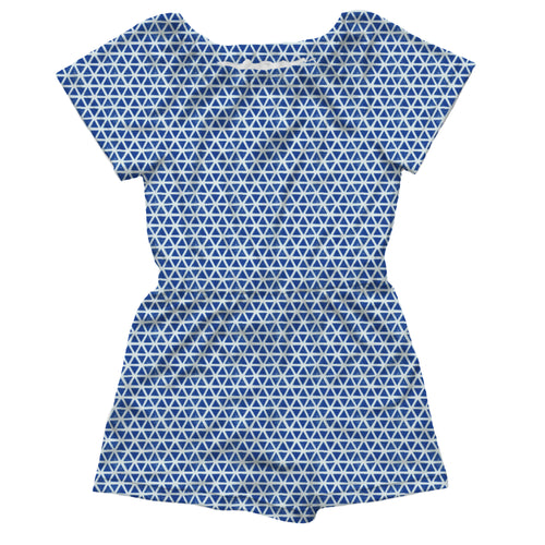 Pull-on Romper, Blue Triangles