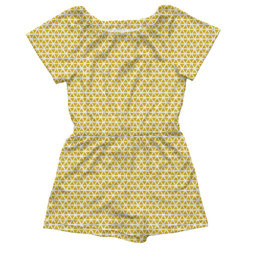 Pull-on Romper, Yellow Triangles