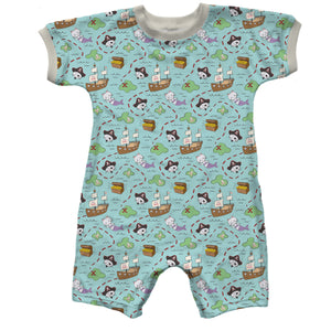 Short Sleeve Short Baby Romper, Kittybeard