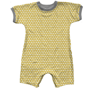 Short Sleeve Short Baby Romper, Yellow Triangles