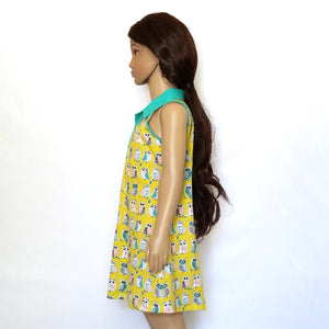 Sleeveless Polo Dress, Owls on yellow, organic cotton, side