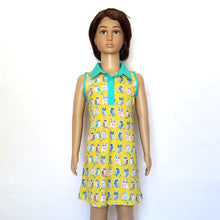 Sleeveless Polo Dress, Owls on yellow, organic cotton, mannequin