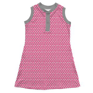 Sleeveless Henley Dress, Pink Triangles