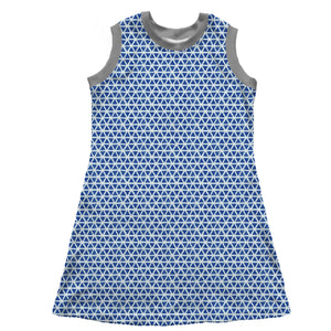 Sleeveless T-Shirt Dress, Blue Triangles