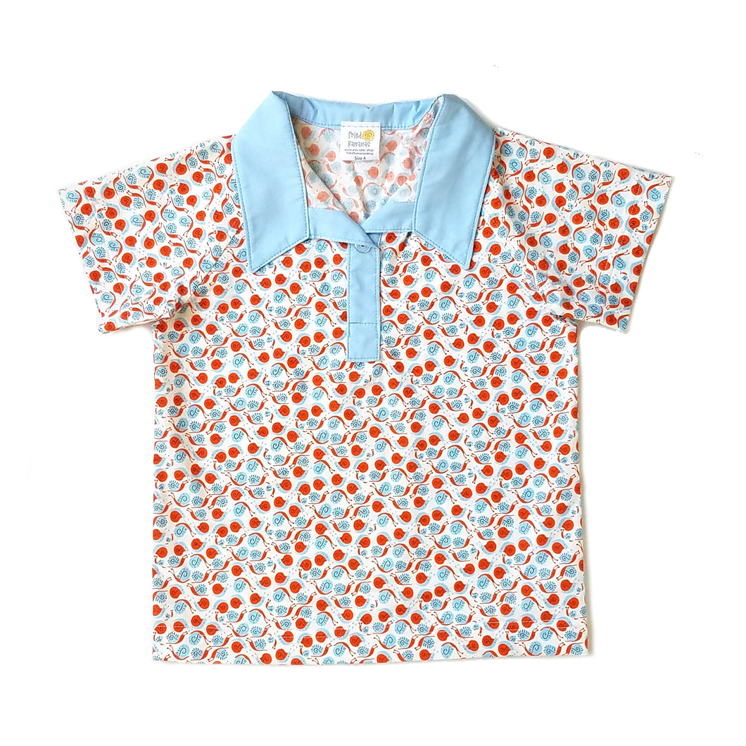 Boys Polo Shirt, Orange and blue snails on white