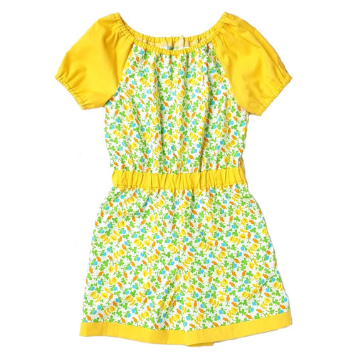 Short Sleeve Romper, Yellow Floral