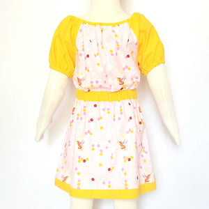 Peasant Dress, Bees on pink honeycomb, mannequin