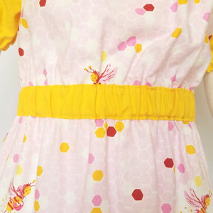 Peasant Dress, Bees on pink honeycomb, close1
