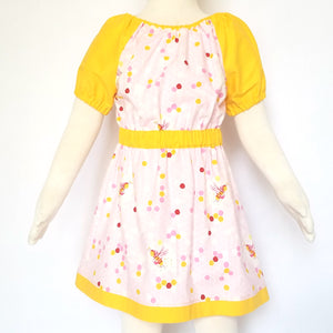 Peasant Dress, Bees on pink honeycomb, back
