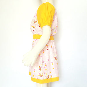 Peasant Dress, Bees on pink honeycomb, side
