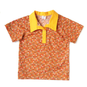 Boys Polo Shirt, small circles on orange background
