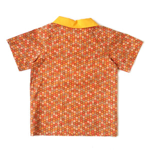 Boys Polo Shirt Back, small circles on orange background
