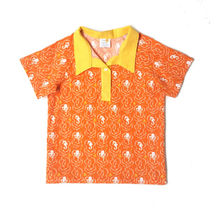 Boys Polo Shirt, Sea Life on orange