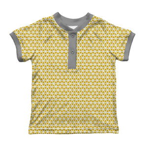 Henley Ringer T-shirt, Yellow Triangles