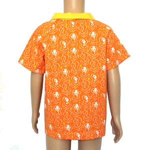 Boys Polo Shirt Back, Sea Life on orange