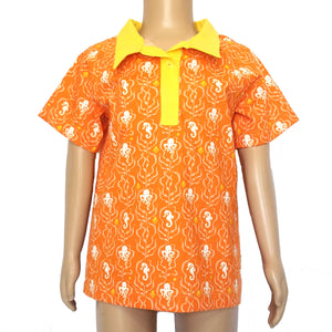Boys Polo Shirt, Sea Life on orange, mannequin