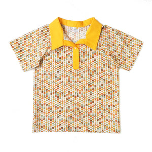Boys Polo Shirt, small circles on white background