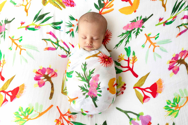 Bloom bamboo Swaddle - colourful baby swaddles for girls