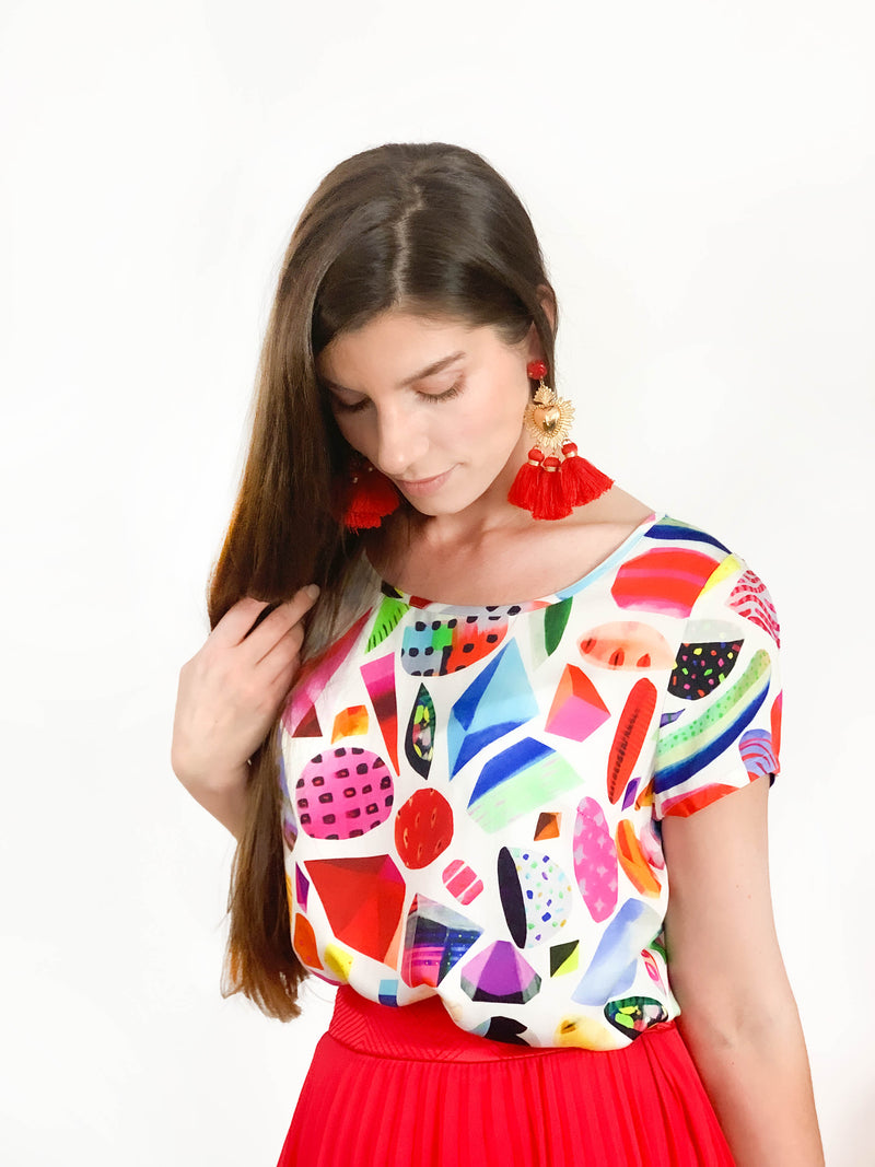 Confetti & Gems / abstract colourful Top / abstract / Australian colourful fashion brand /