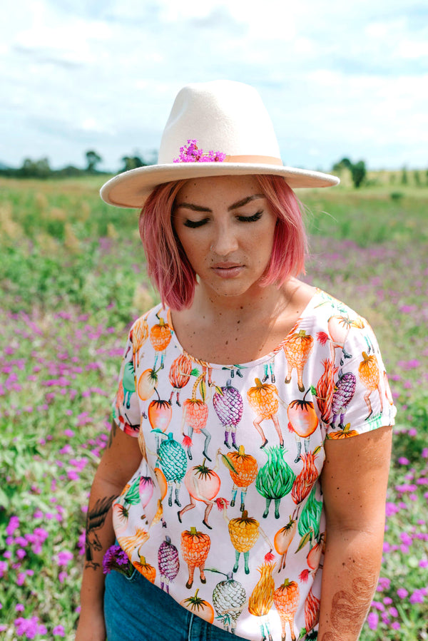 festival of fruit print top / looking for australian colourful quirky fashion brand / colourful clothing brands like gorman? STREBOR CLOTHING
