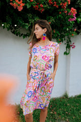 Pink Medusa snake dress / colourful clothing brand / quirky fashion brand