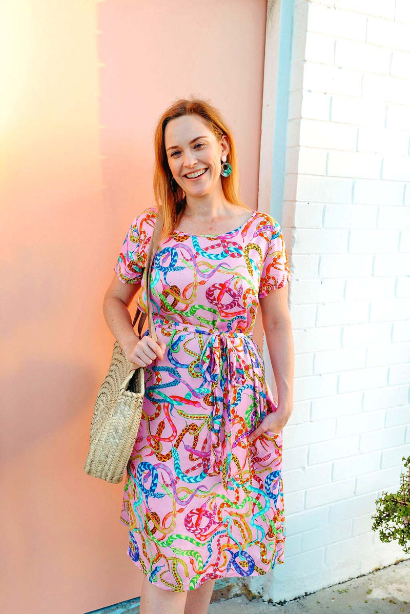 Medusa snake print dress / dress with pockets / Colourful quirky fashion brand / colourful australian fashion brand