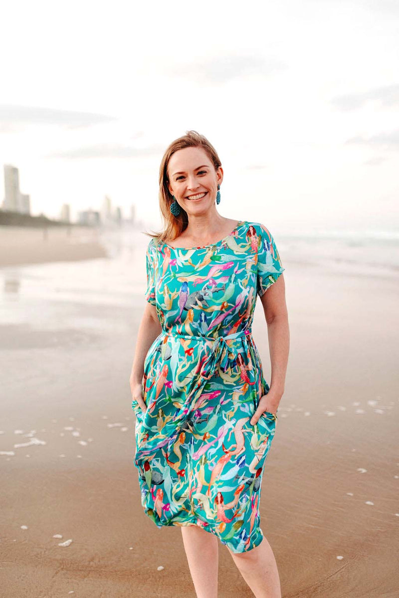 mermaid print dress - quirky clothing australia