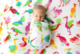 Nest Swaddle - colourful prints - colourful bird print baby swaddles