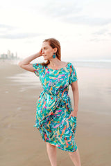 Mermaid print Aqua green dress with pockets / Colourful quirky Australian fashion brand