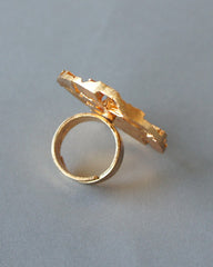 Jorma Laine Large Gilt Bronze Cocktail Ring