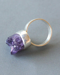 Kaunis Koru Amethyst and Silver Ring