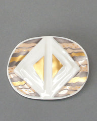 Hutschenreuther Porcelain Brooch in Gold